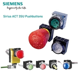 Siemens 22mm Pushbutton Red Metal Integrated LED 3SU1153-6AA20-1AA0
