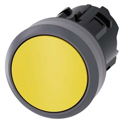 Siemens 22mm Pushbutton Yellow Plastic with Metal Ring 3SU1030-0AB30-0AA0