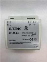 ETEK 24VDC DIN Rail Power Supply 85-264V IN 2.5A