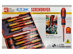 ETEK INSULATED ELECTRICIAN SCREWDRIVER KIT WITH HARD CASE