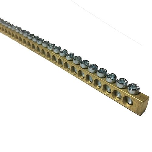 PES 69100 Brass Earth Bar 144 Way 6.5 X 9 X1000mm M5 combi screw