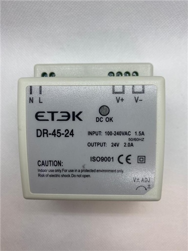 ETEK 24VDC DIN Rail Power Supply 85-264V IN 1.5A  - Click to view a larger image
